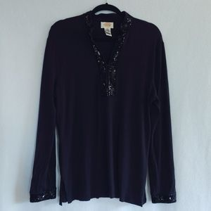 Talbot's Black Knit Shirt Sequined Neckline Cuffs